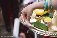 Close up capture of baraat ceremony ritual items.