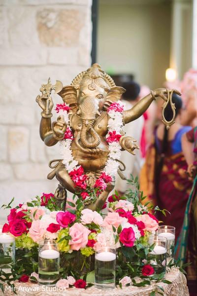 Stunning Indian wedding Ganesha Puja decoration.