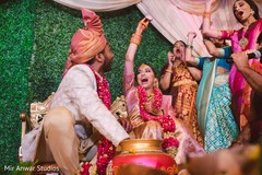 Indian bride found the ring on the pot.