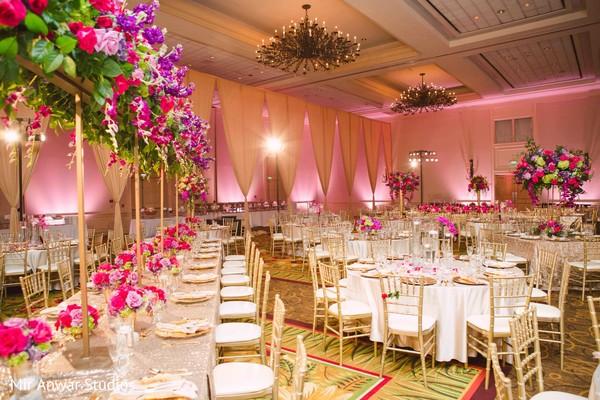 Incredible Indian wedding reception table setup.