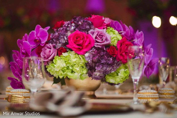 Amazing Indian wedding table flowers decoration.