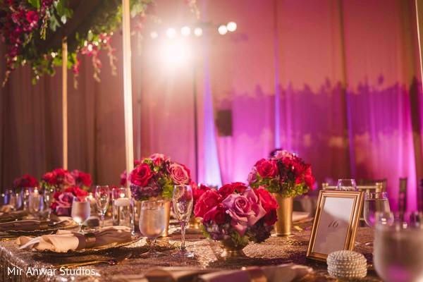 Dreamy Indian wedding reception table decoration.