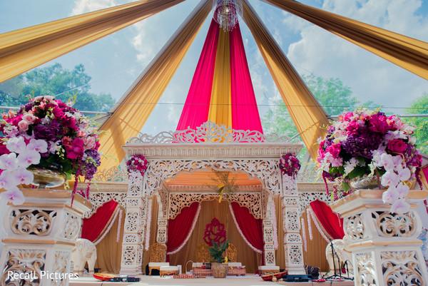 Stunning Indian wedding ceremony mandap decoration.