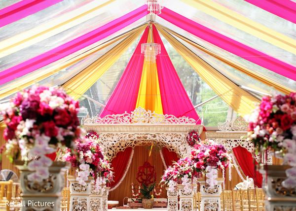 Colorful Indian wedding ceremony decoration.