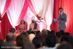 Indian newlyweds during speeches