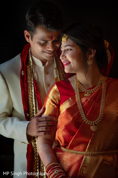 Indian groom and Maharani during photo shoot