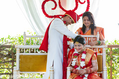 Indian bride and groom having a tender moment