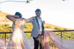 Indian bride and groom having an awesome moment