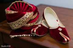 Elegant Indian groom's ceremony accessories and shoes.