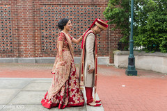 Indian couple at their first look capture.