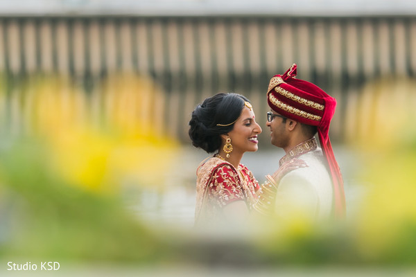 Indian couple romantic first look moment.