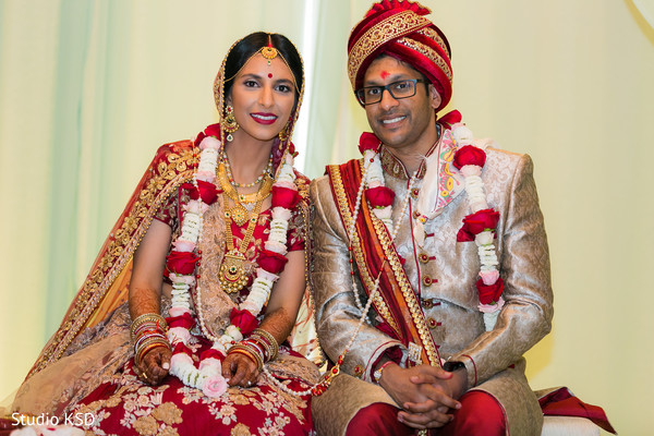 Lovely Indian couple at ceremony portrait.