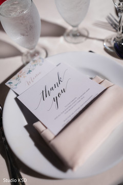 "Personalized Indian wedding ""Thank You"" table stationery."
