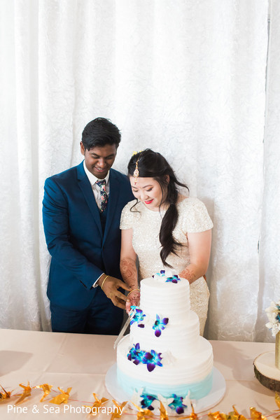 Indian couple ready to slice their cake