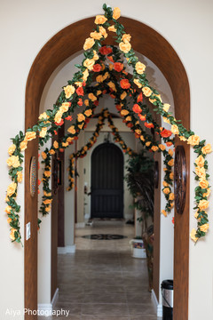 Lovely Indian haldi flowers decoration.