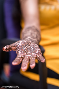 Closeup capture of Indian bridal henna art.
