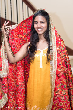Dreamy Indian bride on her haldi outfit.