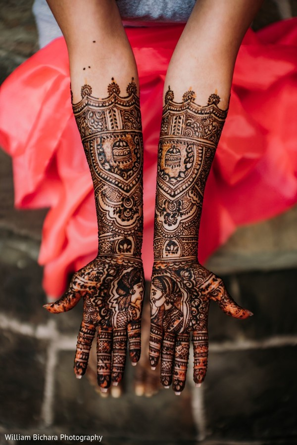 Incredible Indian bridal henna art on hands capture.