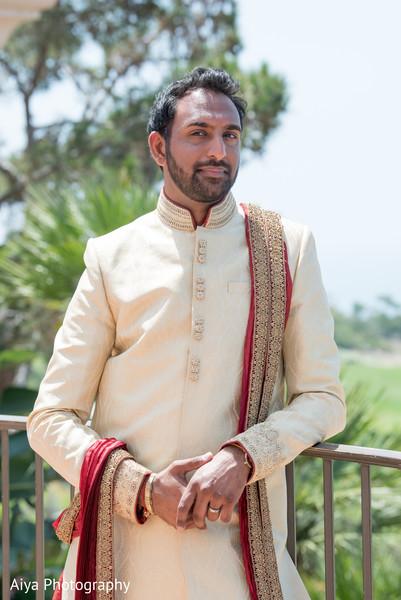 Rajah posing whit his ceremony sherwani.