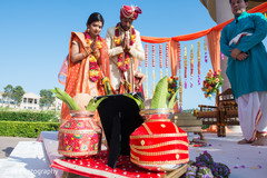 Marvelous capture of Indian couple at wedding ritual.