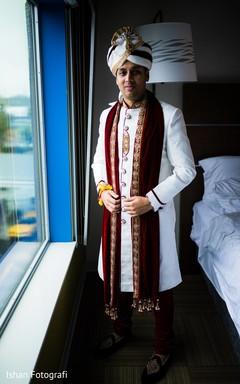 Indian groom wearing the sherwani