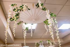 Indian wedding umbrellas decor with flowers.