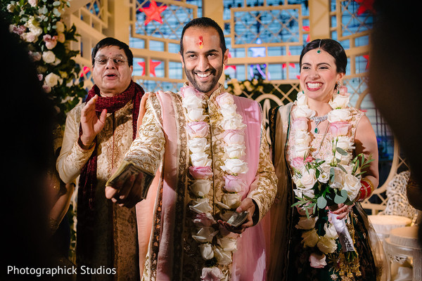 Indian groom's capture at wedding ritual.