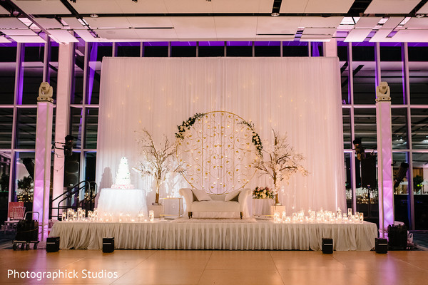 Stunning Indian wedding reception stage decor.
