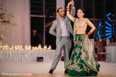 Joyful indian couple's dance performance.