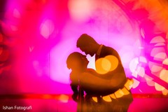 Romantic Indian bride and groom silhouette photo.