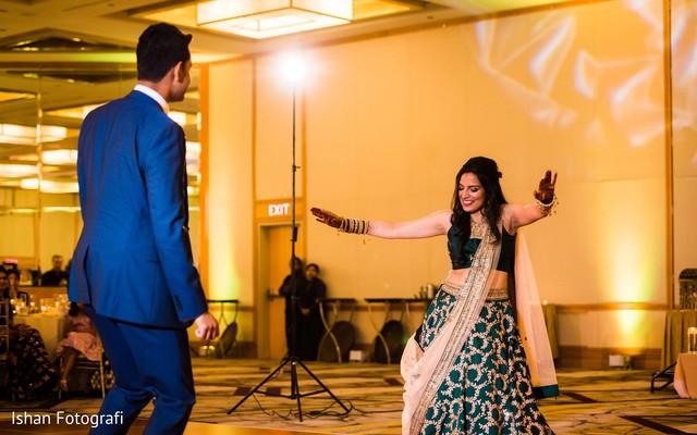 Upbeat Indian bride and groom dance capture.