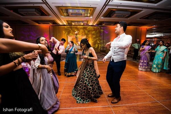 Upbeat Indian couple reception dance.