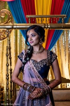 Wonderful Indian bride's sangeet portrait.