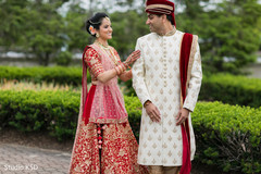 Indian bride and groom's first glance