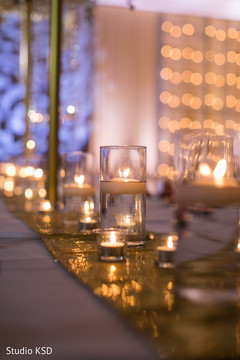 Candle details of the Indian wedding reception venue