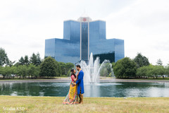 Indian bride and groom outdoors for the photo shoot