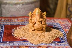 Elegant Indian wedding ceremony Ganesha decor.