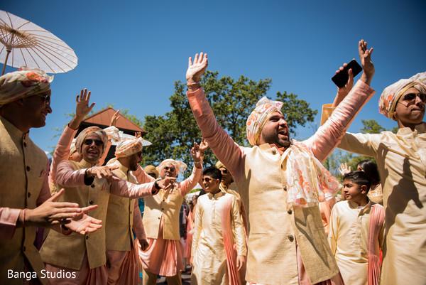 Raja with groomsmen at baraat procession.