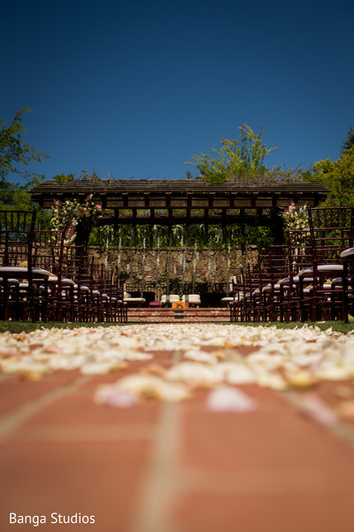 Outdoors Indian Wedding ceremony mandap decoration.
