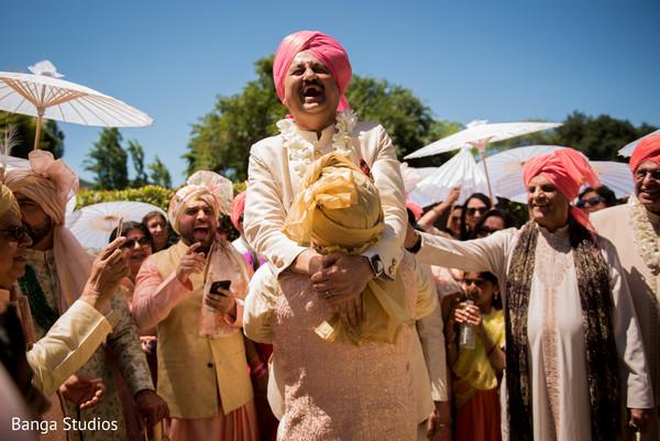 Indian pre-wedding milni celebration capture.