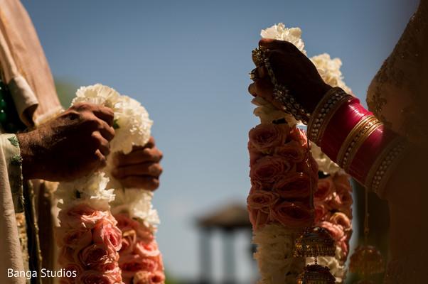 Closeup capture of Indian wedding ceremony garlands.