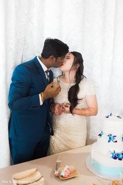 Indian couple sweetly kissing