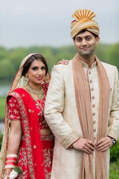 Wonderful Indian couple posing outdoors.