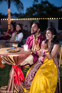 Indian bride and groom at their sangeet party.