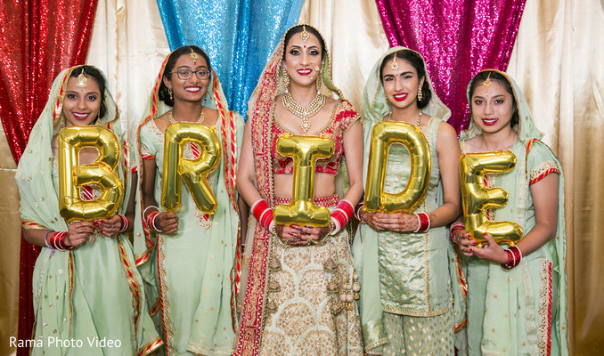 Maharani posing with her bridesmaids