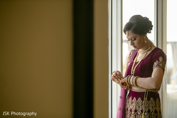 Ravishing Indian bride getting ready capture.