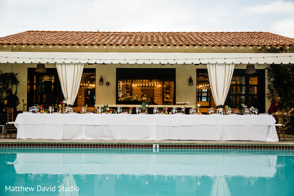 Table by the pool at the reception
