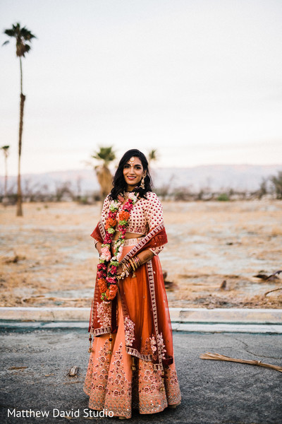 Beautiful bride outdoors for pictures