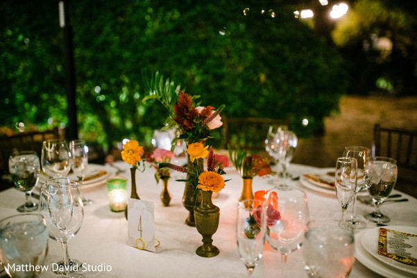 Floral ornaments on the tables