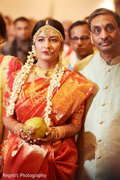 Indian bride entering her wedding ceremony